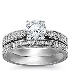 Engraved Micropavé Diamond Engagement Ring and Band in Platinum (1/3 ct. tw.)